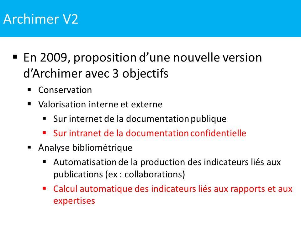 Archimer V2 En 2009, proposition d'une nouvelle version d'Archimer avec 3 objectifs. Conservation.
