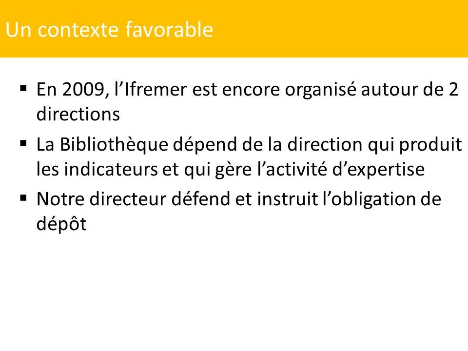 Un contexte favorable En 2009, l'Ifremer est encore organisé autour de 2 directions.