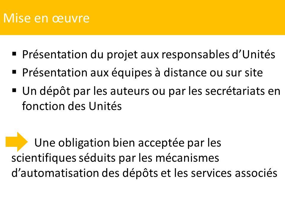 Mise en œuvre Présentation du projet aux responsables d'Unités