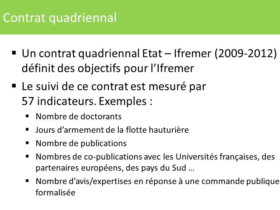 Contrat quadriennal Un contrat quadriennal Etat – Ifremer (2009-2012) définit des objectifs pour l'Ifremer.