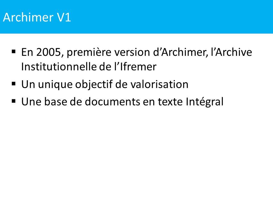 Archimer V1 En 2005, première version d'Archimer, l'Archive Institutionnelle de l'Ifremer. Un unique objectif de valorisation.