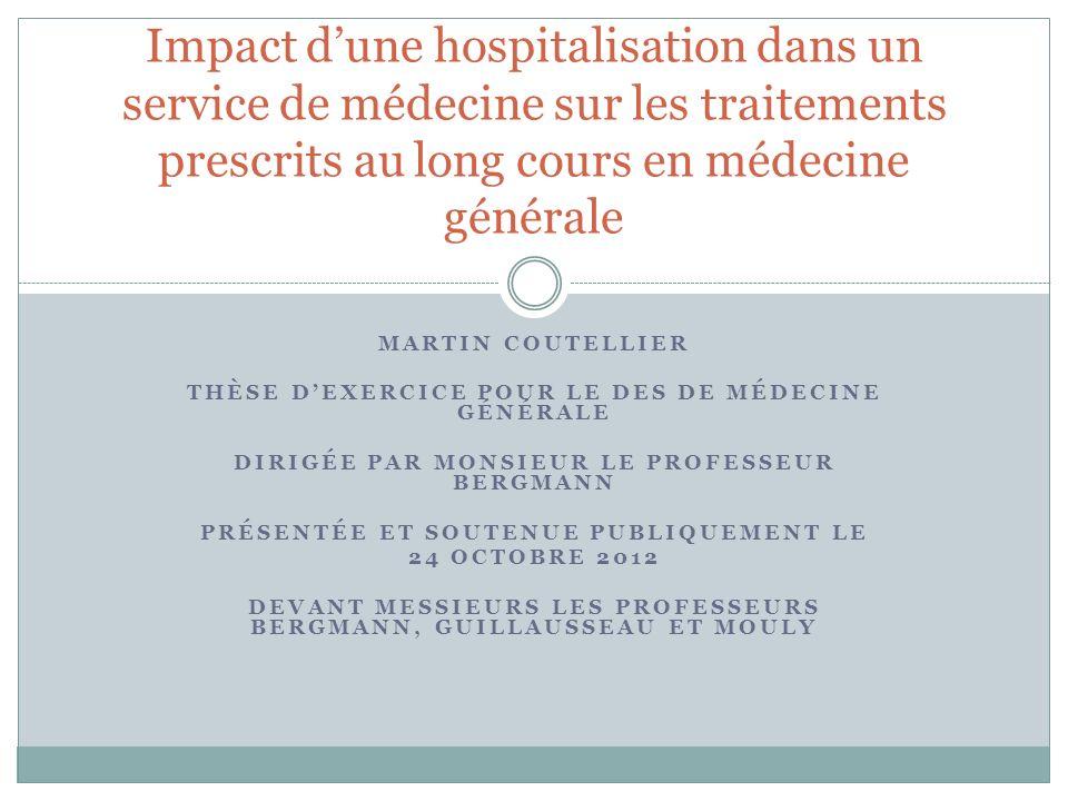 Impact d'une hospitalisation dans un service de médecine sur les traitements prescrits au long cours en médecine générale