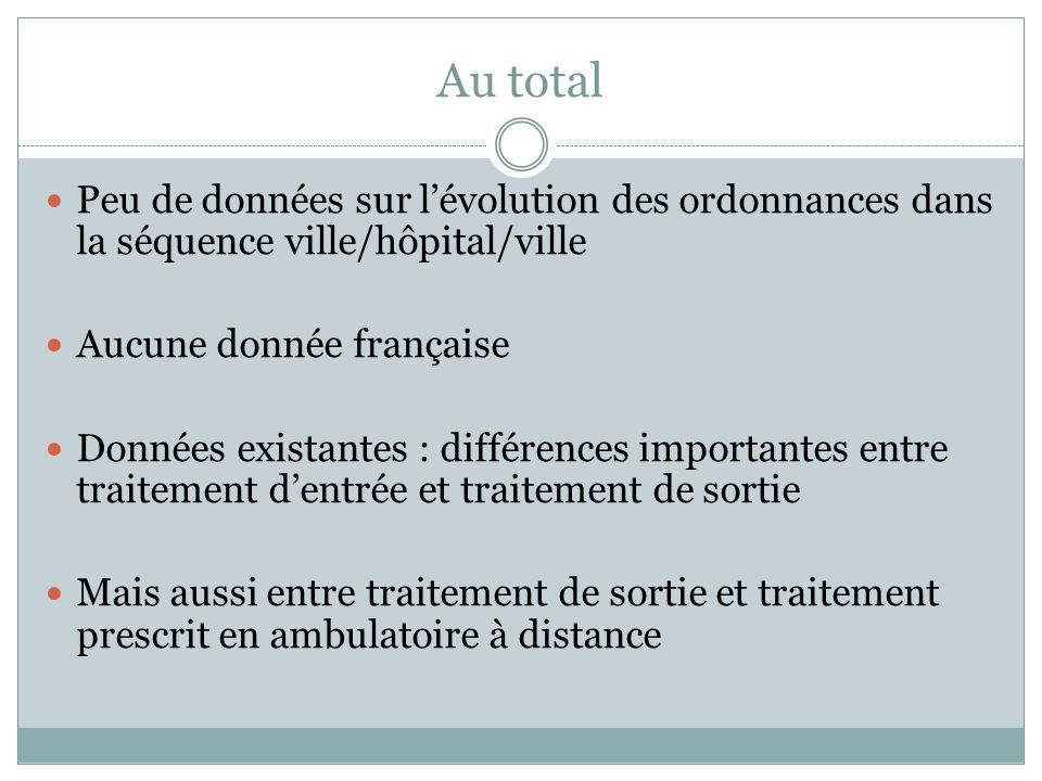 Au total Peu de données sur l'évolution des ordonnances dans la séquence ville/hôpital/ville. Aucune donnée française.