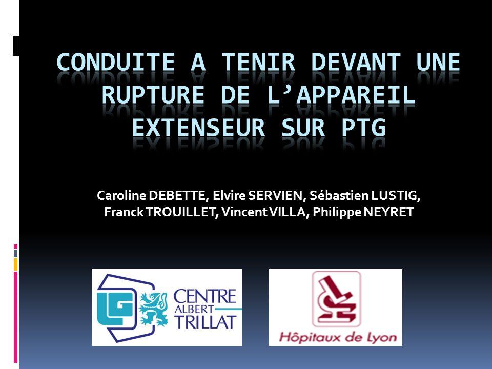 CONDUITE A TENIR DEVANT UNE RUPTURE DE L'APPAREIL EXTENSEUR SUR PTG