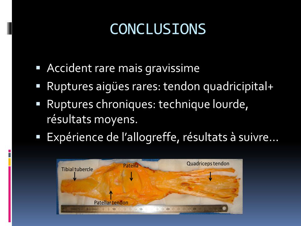 CONCLUSIONS Accident rare mais gravissime
