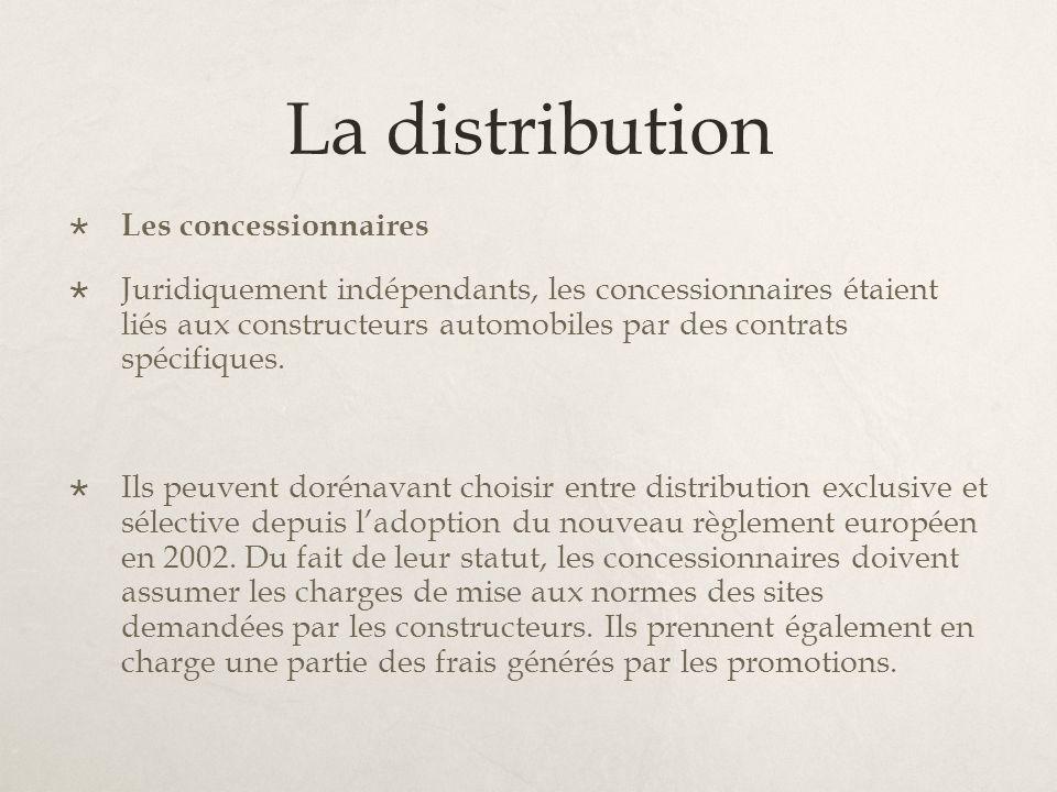 La distribution Les concessionnaires