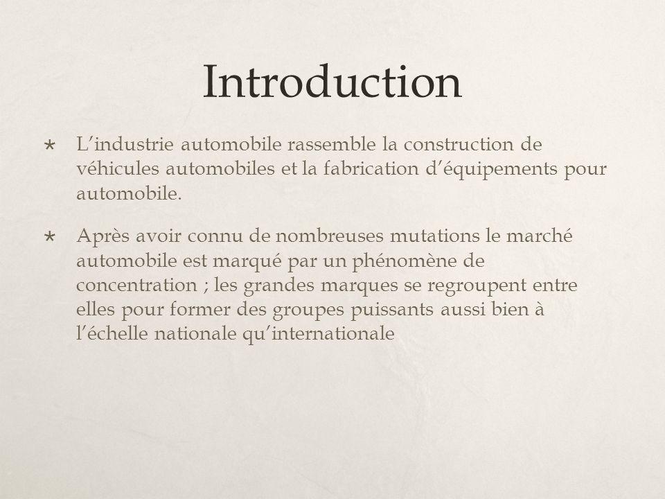 Introduction L'industrie automobile rassemble la construction de véhicules automobiles et la fabrication d'équipements pour automobile.