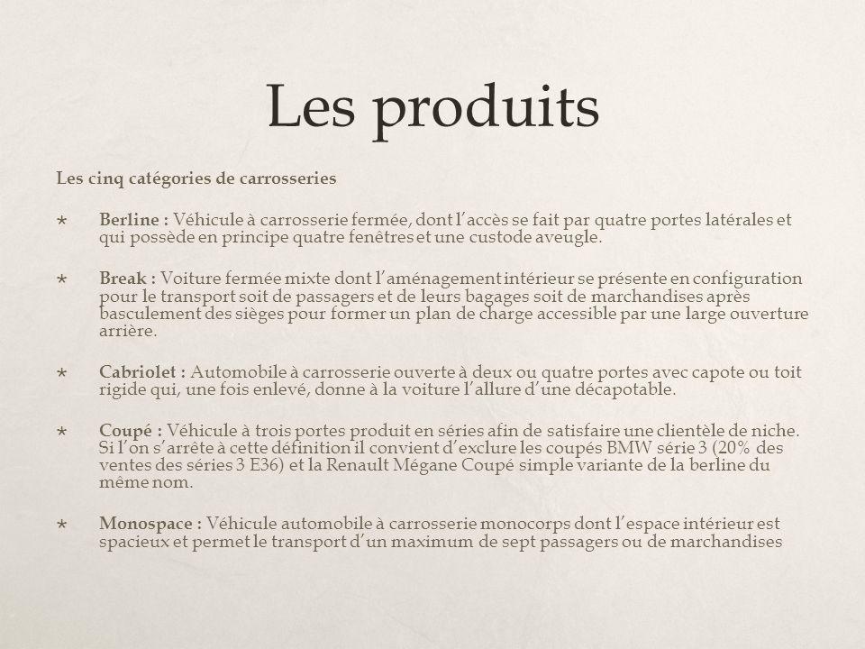 Les produits Les cinq catégories de carrosseries