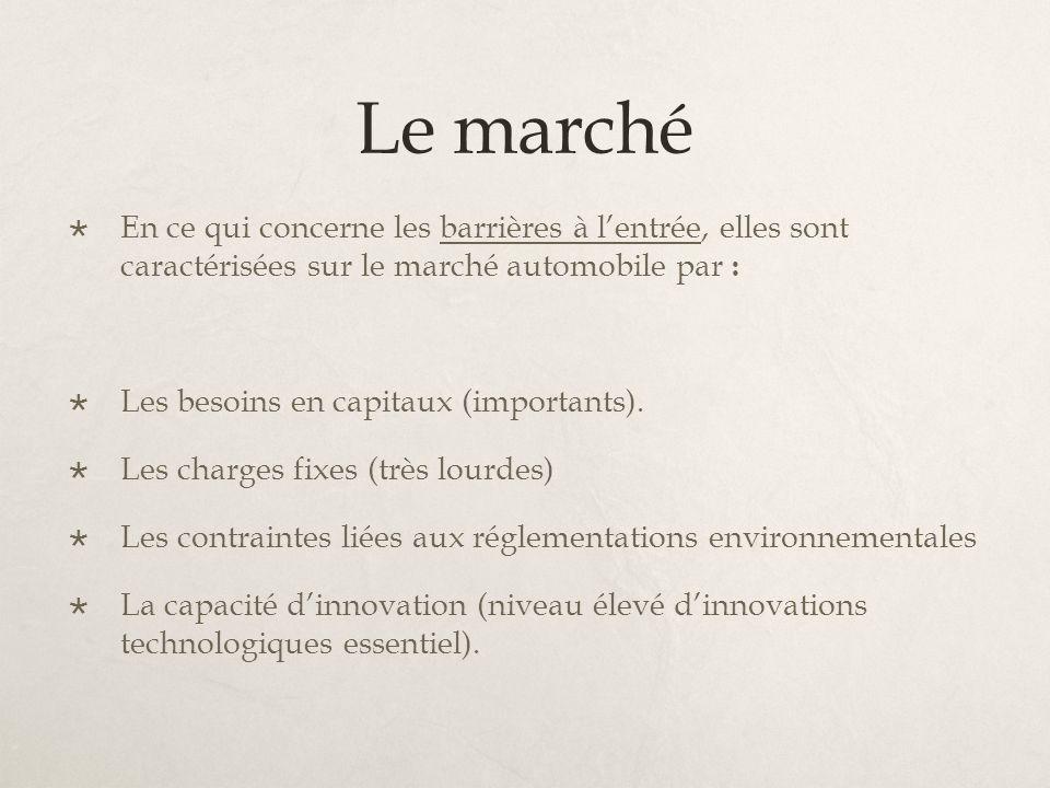 Le marché En ce qui concerne les barrières à l'entrée, elles sont caractérisées sur le marché automobile par :