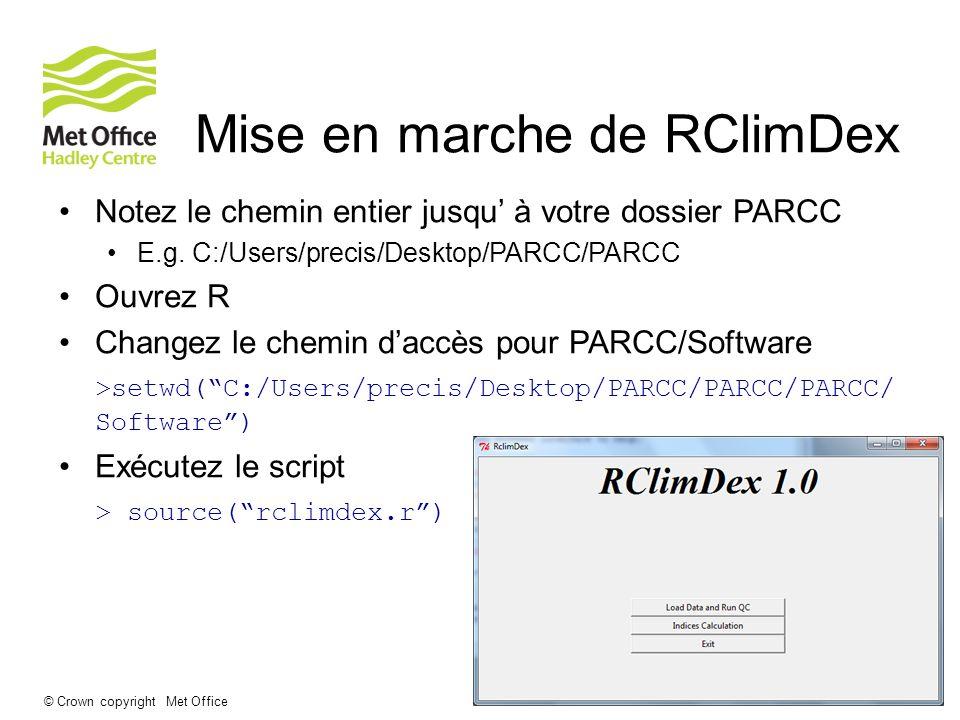 Mise en marche de RClimDex