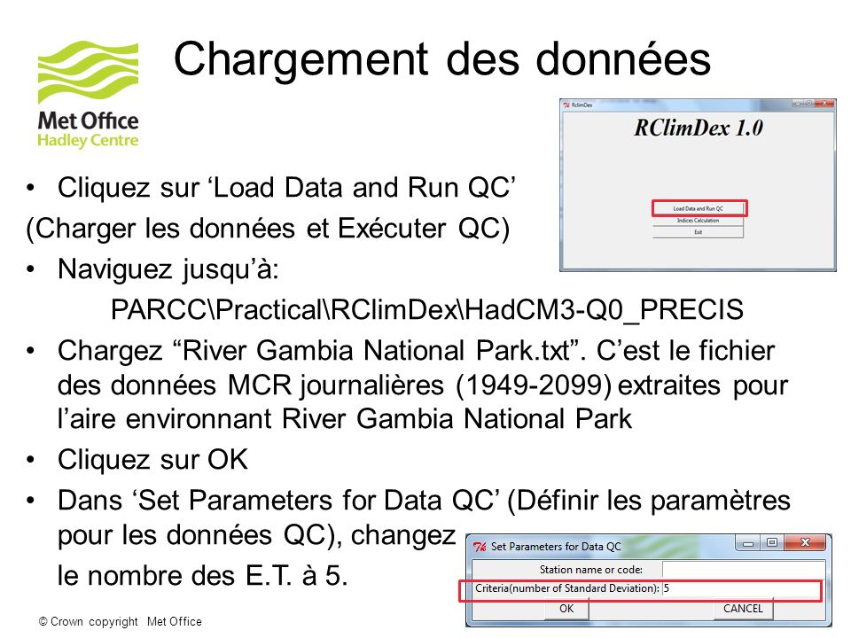 Chargement des données