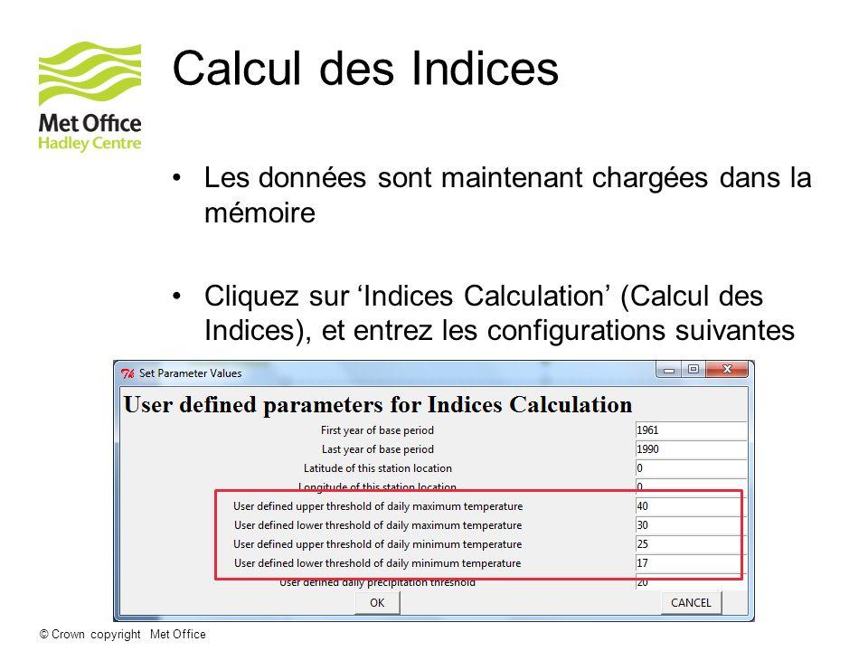 Calcul des Indices Les données sont maintenant chargées dans la mémoire.