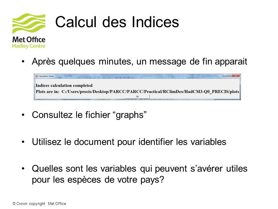 Calcul des Indices Après quelques minutes, un message de fin apparait