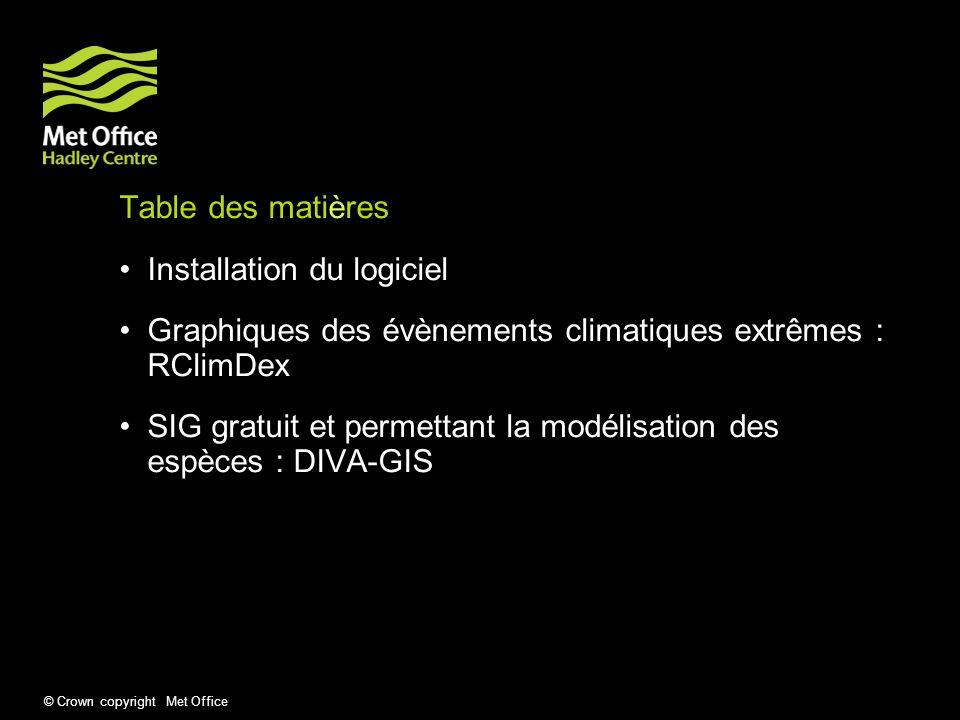 Table des matières Installation du logiciel. Graphiques des évènements climatiques extrêmes : RClimDex.