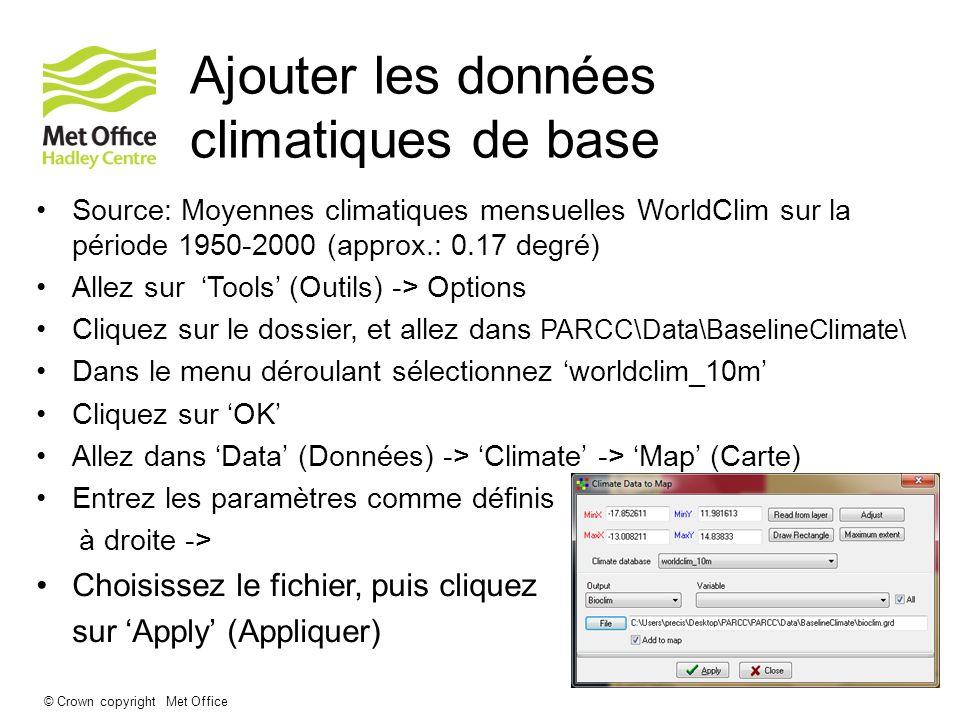Ajouter les données climatiques de base