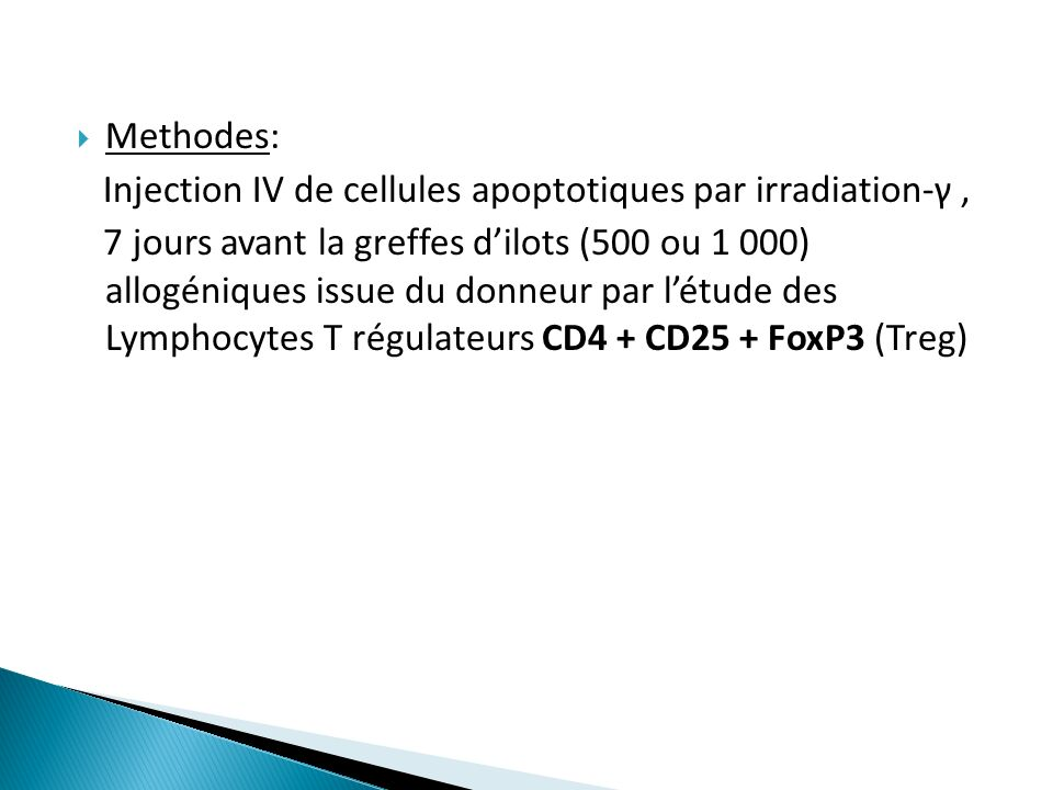 Injection IV de cellules apoptotiques par irradiation-γ ,