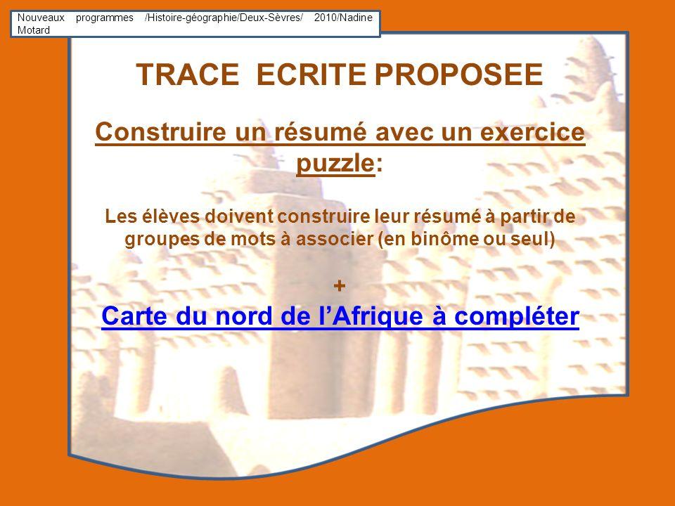TRACE ECRITE PROPOSEE Construire un résumé avec un exercice puzzle: