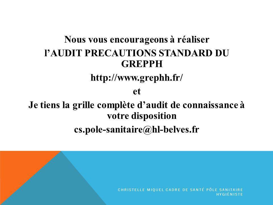 Nous vous encourageons à réaliser l'AUDIT PRECAUTIONS STANDARD DU GREPPH http://www.grephh.fr/ et Je tiens la grille complète d'audit de connaissance à votre disposition cs.pole-sanitaire@hl-belves.fr