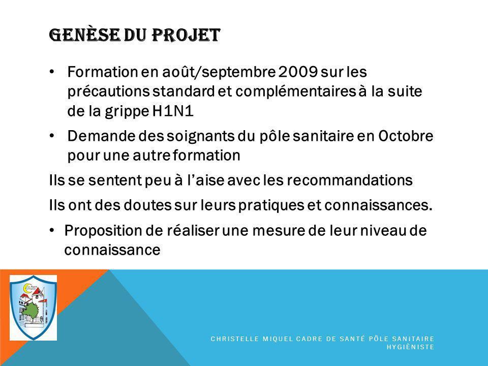 Genèse du projet Formation en août/septembre 2009 sur les précautions standard et complémentaires à la suite de la grippe H1N1.