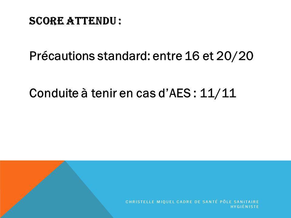 SCORE ATTENDU : Précautions standard: entre 16 et 20/20 Conduite à tenir en cas d'AES : 11/11