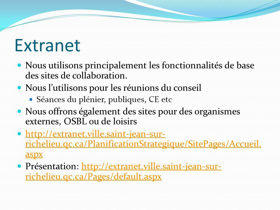 Extranet Nous utilisons principalement les fonctionnalités de base des sites de collaboration. Nous l'utilisons pour les réunions du conseil.