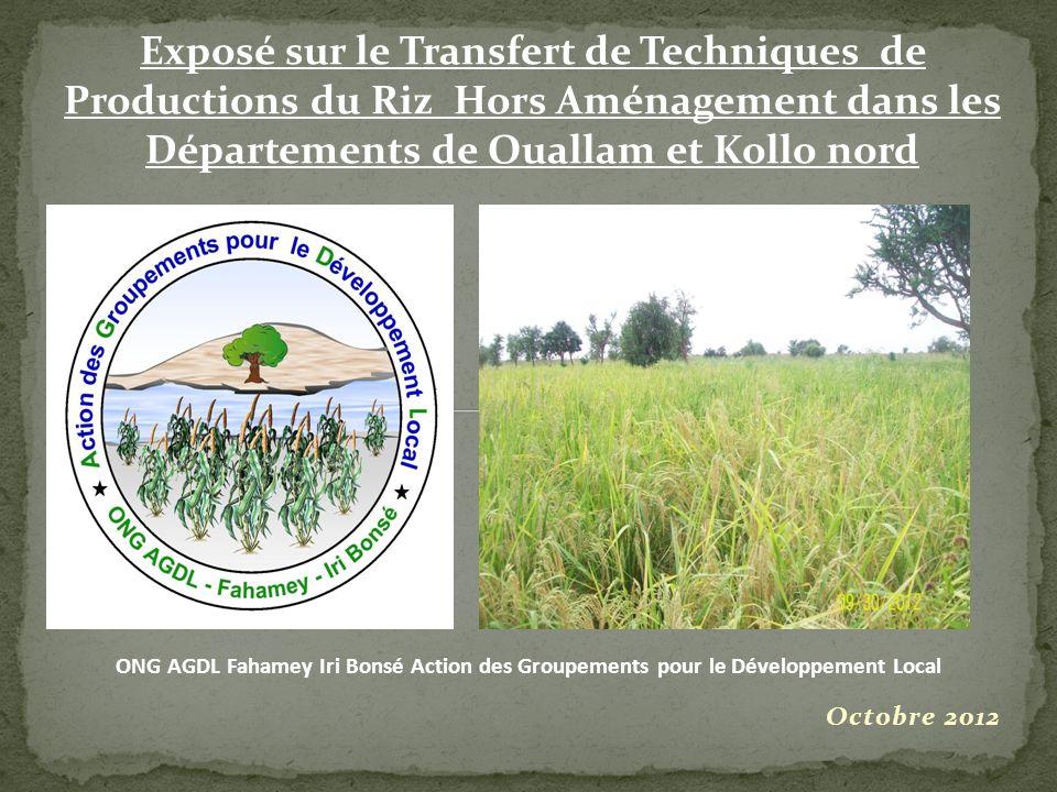 Exposé sur le Transfert de Techniques de Productions du Riz Hors Aménagement dans les Départements de Ouallam et Kollo nord