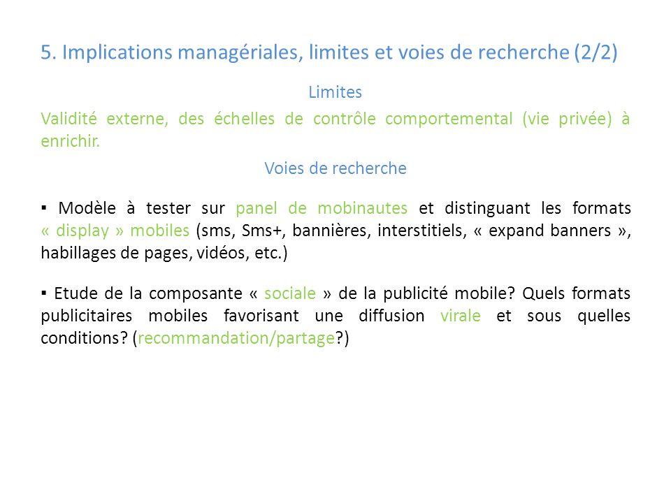 5. Implications managériales, limites et voies de recherche (2/2)
