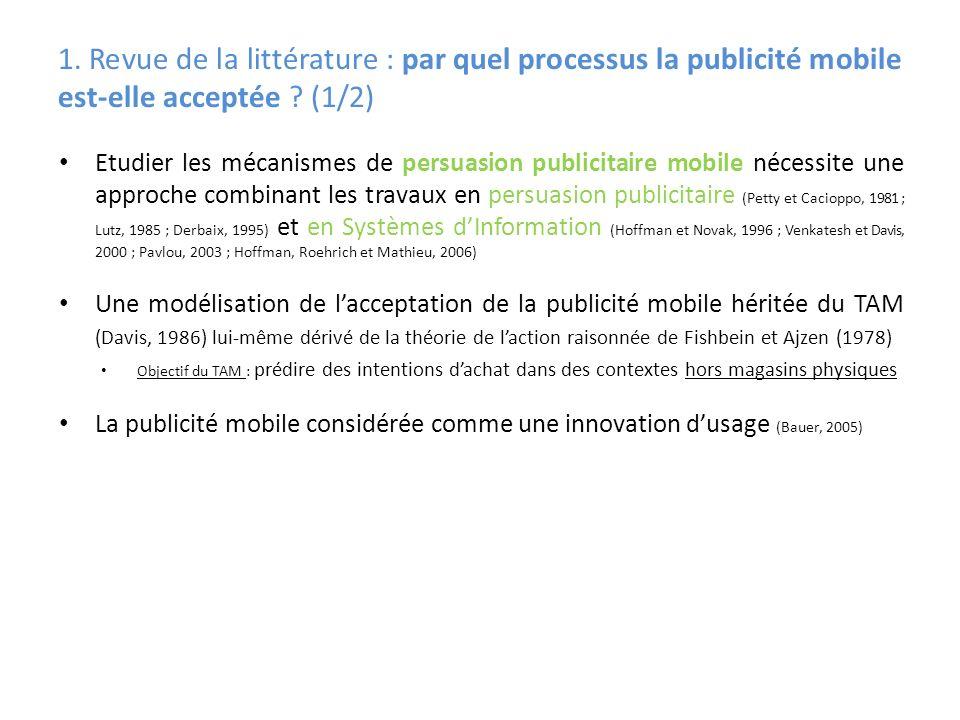 1. Revue de la littérature : par quel processus la publicité mobile est-elle acceptée (1/2)