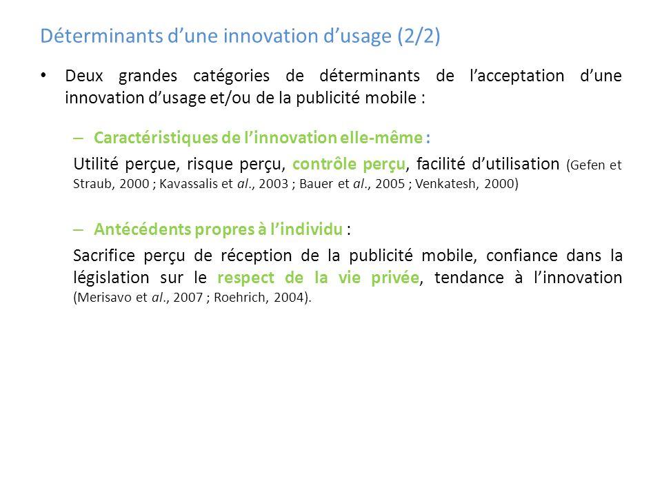 Déterminants d'une innovation d'usage (2/2)