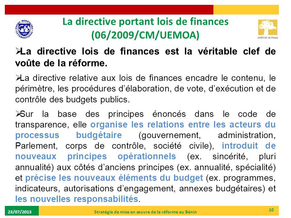 La directive portant lois de finances (06/2009/CM/UEMOA)