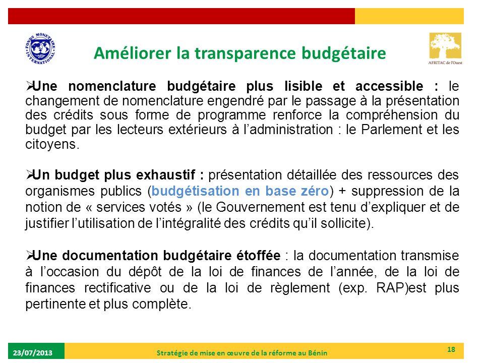 Améliorer la transparence budgétaire