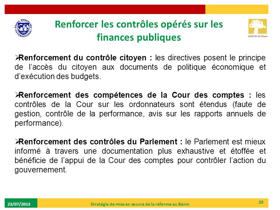 Renforcer les contrôles opérés sur les finances publiques