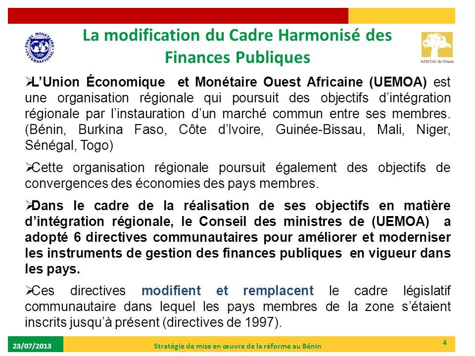 La modification du Cadre Harmonisé des Finances Publiques