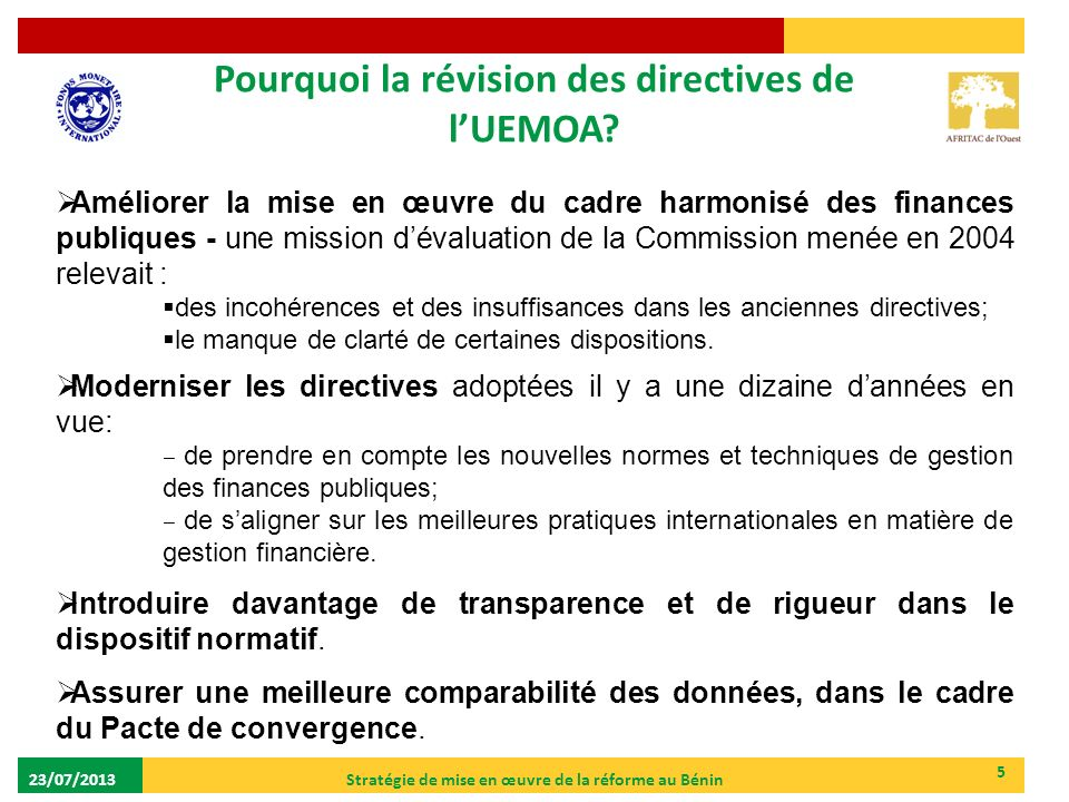 Pourquoi la révision des directives de l'UEMOA