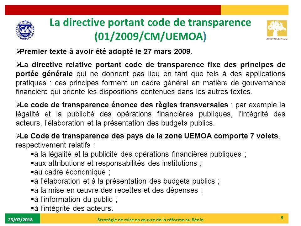 La directive portant code de transparence (01/2009/CM/UEMOA)