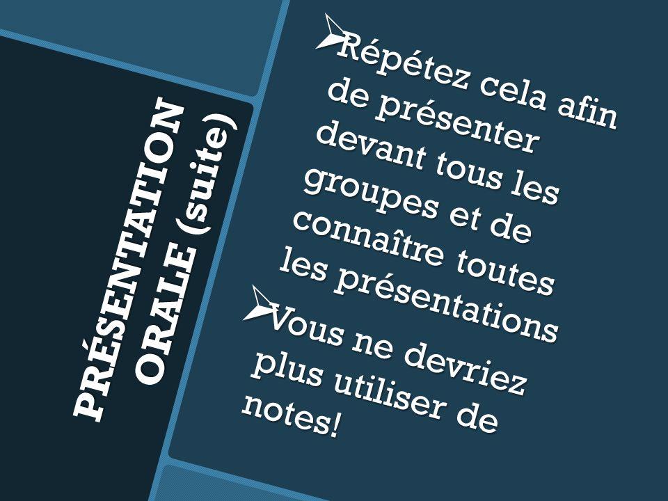 PRÉSENTATION ORALE (suite)