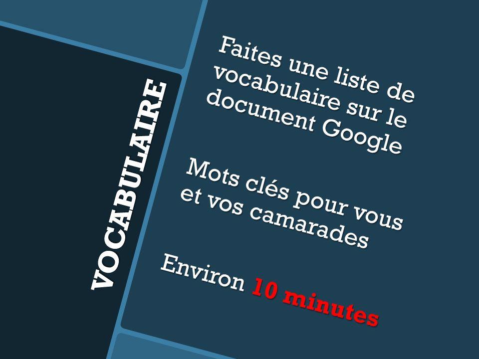 Faites une liste de vocabulaire sur le document Google Mots clés pour vous et vos camarades Environ 10 minutes