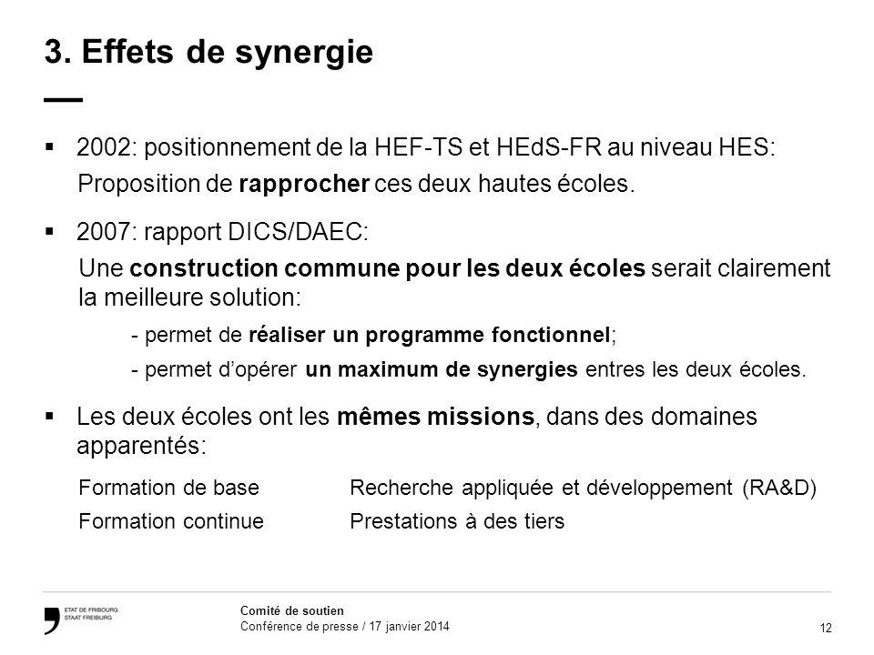 3. Effets de synergie — 2002: positionnement de la HEF-TS et HEdS-FR au niveau HES: Proposition de rapprocher ces deux hautes écoles.