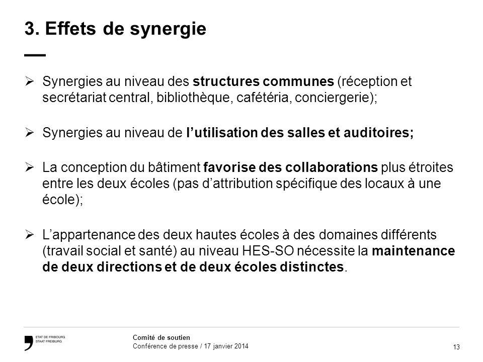 3. Effets de synergie — Synergies au niveau des structures communes (réception et secrétariat central, bibliothèque, cafétéria, conciergerie);