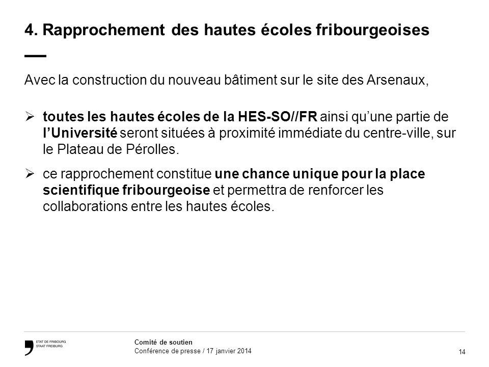 4. Rapprochement des hautes écoles fribourgeoises —