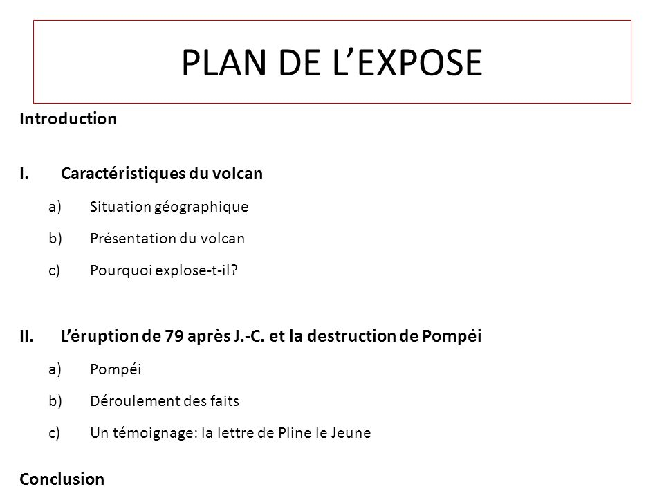 PLAN DE L'EXPOSE Introduction Caractéristiques du volcan