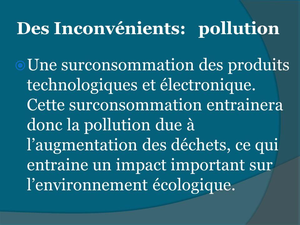 Des Inconvénients: pollution