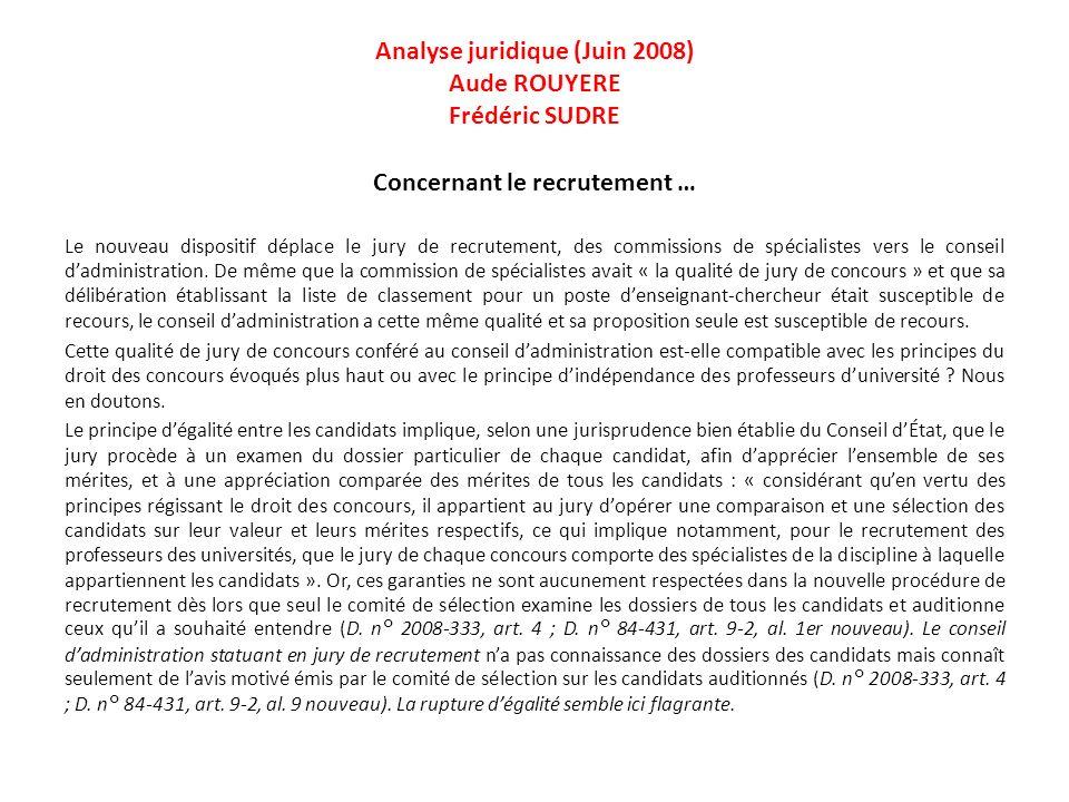 Analyse juridique (Juin 2008) Aude ROUYERE Frédéric SUDRE