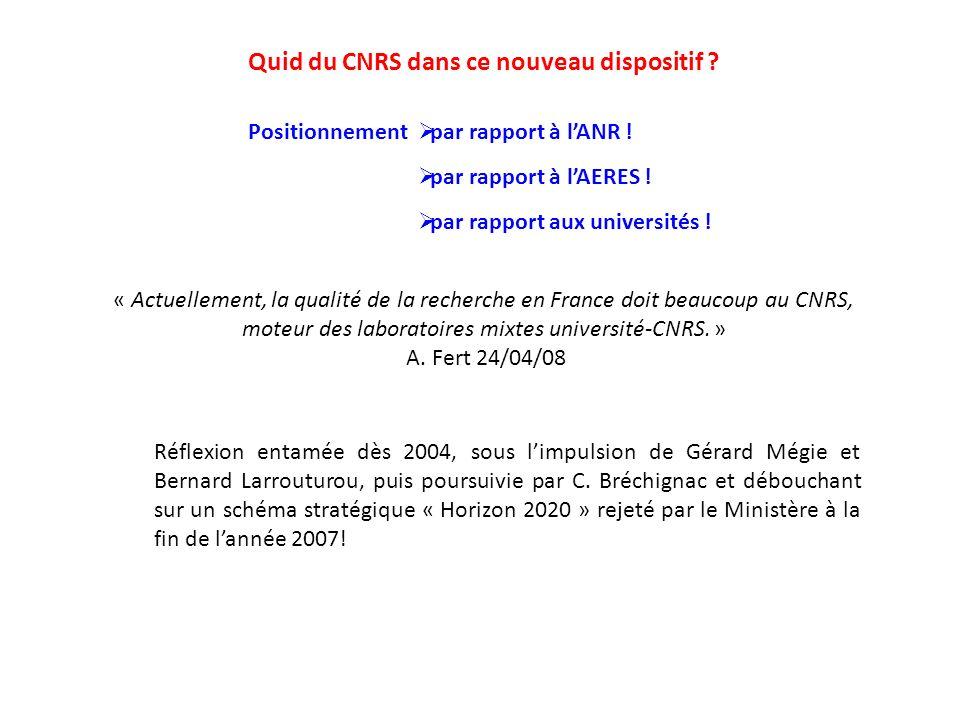 Quid du CNRS dans ce nouveau dispositif