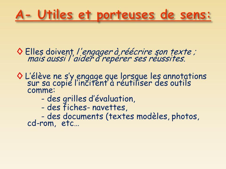 A- Utiles et porteuses de sens: