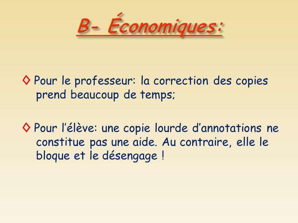 B- Économiques: ◊ Pour le professeur: la correction des copies prend beaucoup de temps;