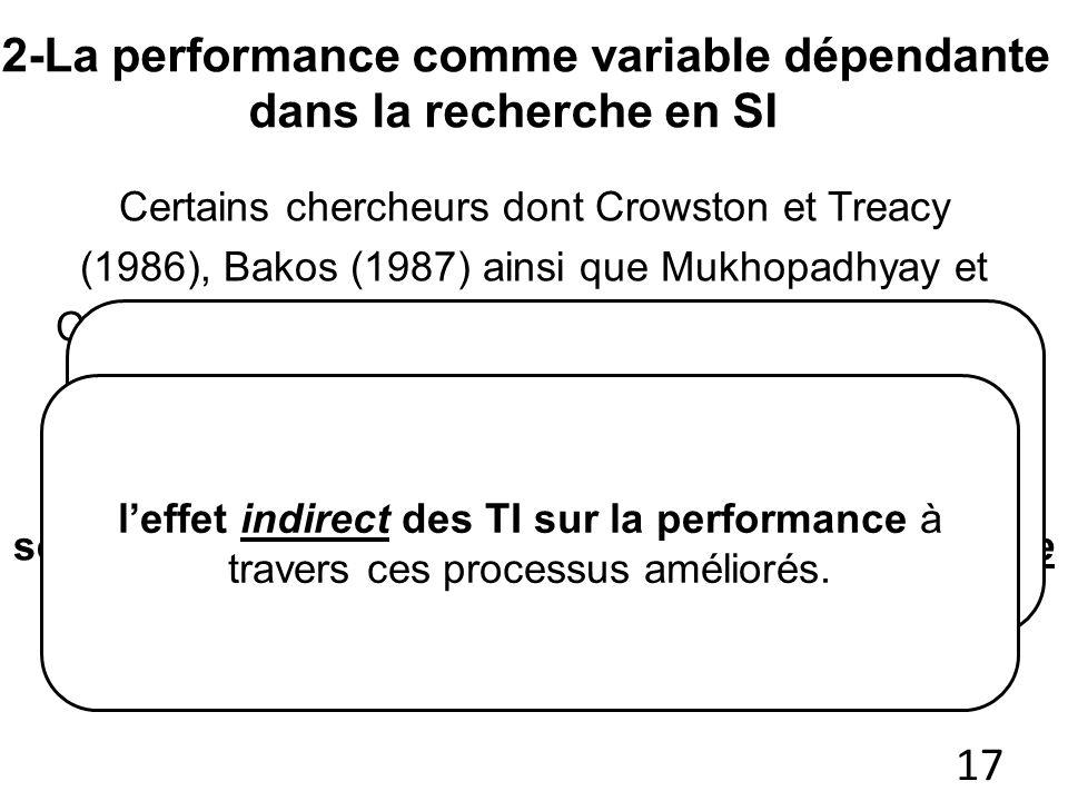 2-La performance comme variable dépendante dans la recherche en SI