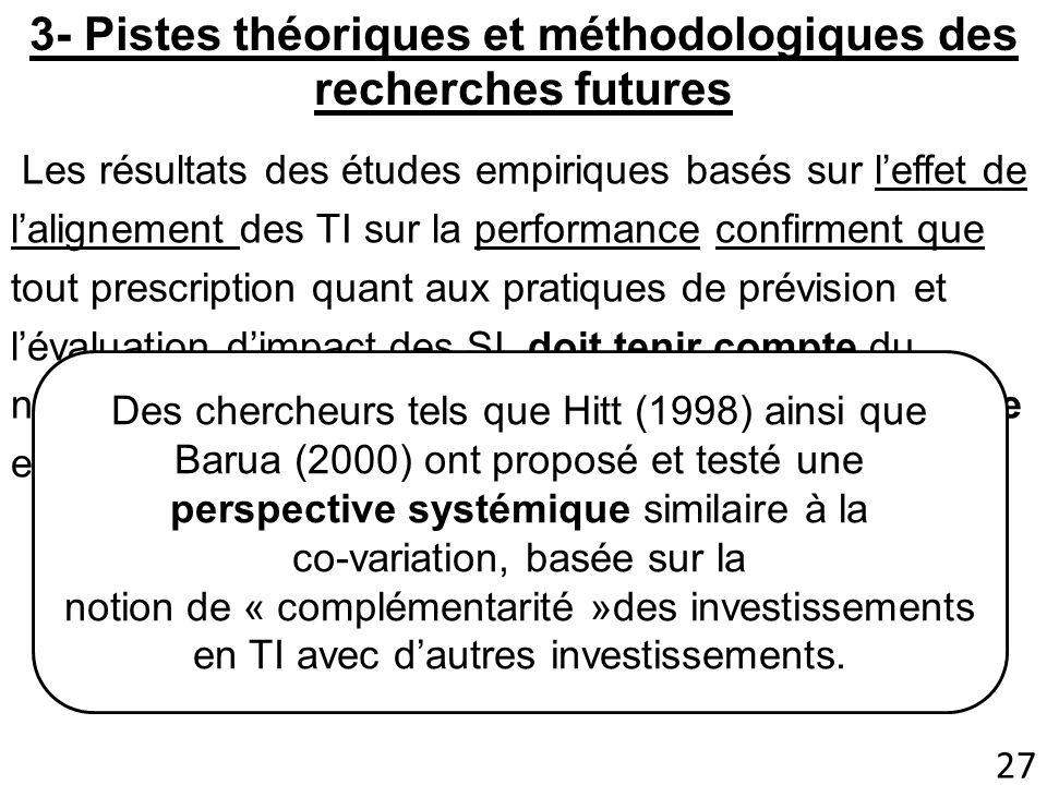3- Pistes théoriques et méthodologiques des recherches futures