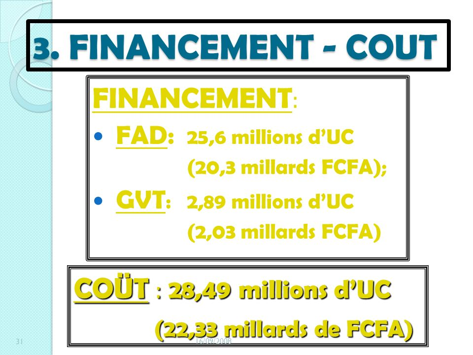 3. FINANCEMENT - COUT FINANCEMENT: COÜT : 28,49 millions d'UC