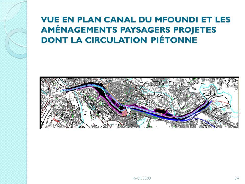 VUE EN PLAN CANAL DU MFOUNDI ET LES AMÉNAGEMENTS PAYSAGERS PROJETES DONT LA CIRCULATION PIÉTONNE